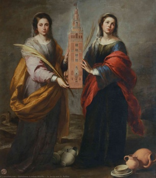 wholesale painting # HOME OFFICE WALL Decorative ART religion ST. JUSTA AND ST. RUFINA; BARTOLOME ESTEBAN MURILLO PRINT art image