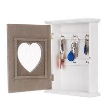 Caja de almacenamiento de llaves de madera de estilo europeo Vintage montada en la pared con ganchos colgantes 21x26,5x7cm elegante hermoso