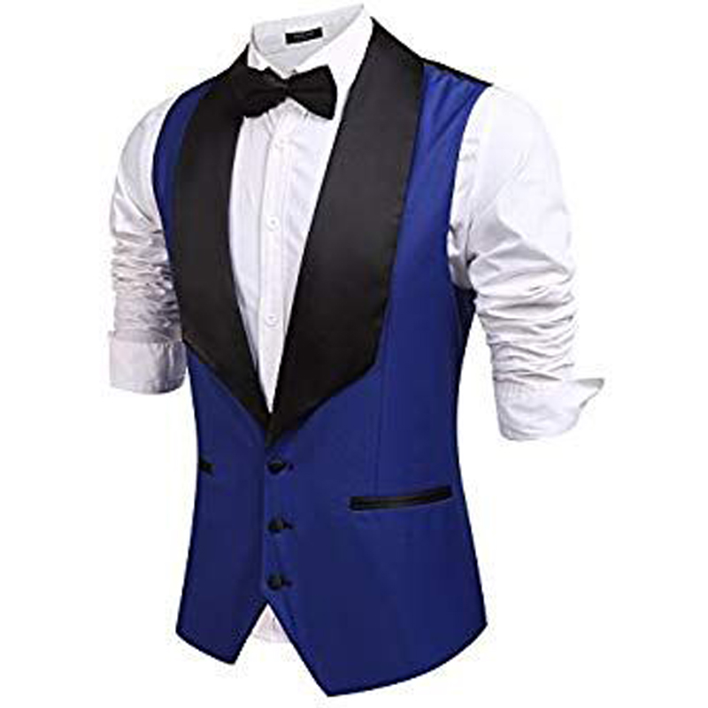 Royal Blue Fashion Slim Fit Wedding Vests Black Lapel Men's Waistcoat Groom Vests Mens Vest For Party Groomsmen Vest