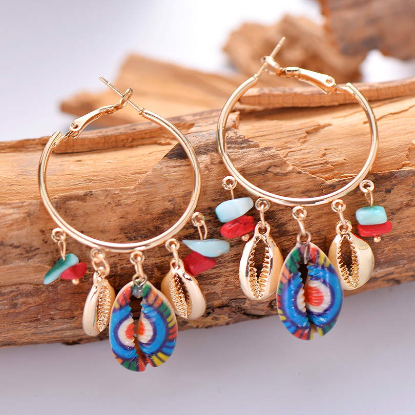 Gypsy Multicolor Sea Shell Pendant Statement Earrings For Women Boho Brincos Handmade Natural Stone Tassel Earring Gift Jewelry
