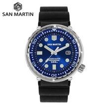 サンマーティンマグロダイバーステンレス鋼自動メンズ腕時計多色 30Bar 防水発光サファイア日付 Relojes часы