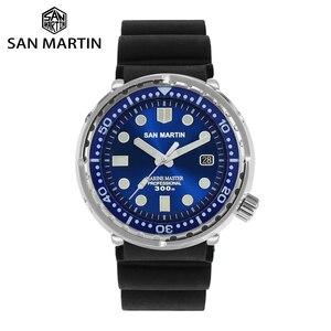 Image 1 - サンマーティンマグロダイバーステンレス鋼自動メンズ腕時計多色 30Bar 防水発光サファイア日付 Relojes часы