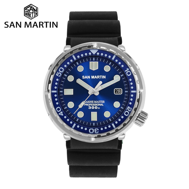 San Martin TUNA Diver Stainless Steel Automatic Men Watch  Multicolor 30Bar Water Resistant Luminous Sapphire Date Relojes часы