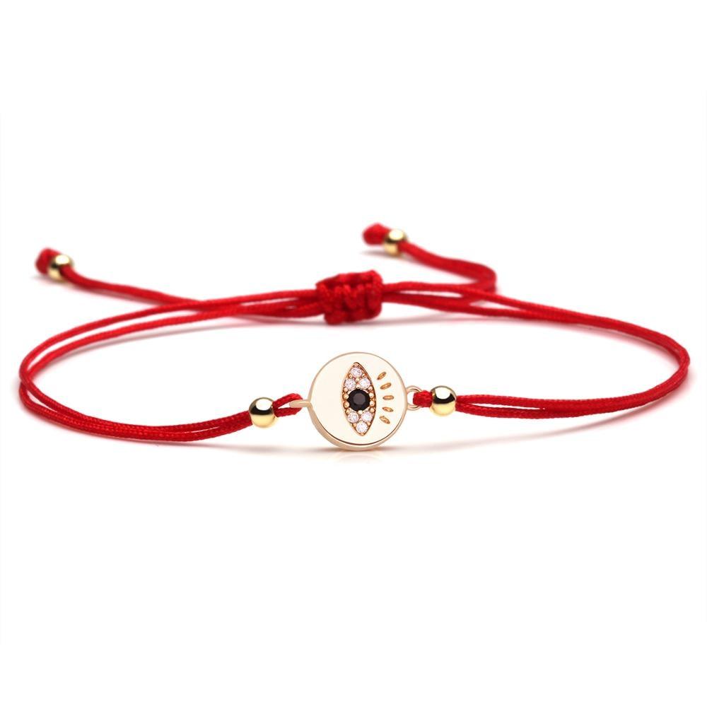 Sparkling Cubic Zirconia Copper Evil Eye Lash Charm Bracelet Women Girl Elegant Cute Round Brass CZ Red String Lovely Jewelry