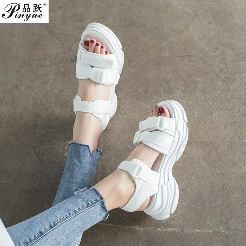 Sports Sandals Ladies Platform Shoes Woman Mid Heel Muffin Thick Bottom Hook Loop Fashion Casual Black  Summer Shoes