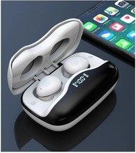 Tws preto bluetooth 5.0 fone de ouvido sem fio fones headphons 2 em 1 power bank 3500mah 9d controle toque com display led mic