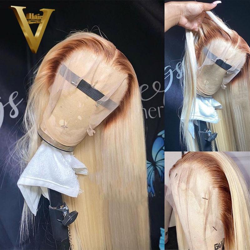 Ombre Blonde cheveux humains perruques pour les femmes 4 613 Blonde Bob perruque droite T partie dentelle perruque cheveux humains brésilien Remy corps vague perruque
