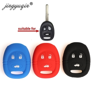 Image 1 - jingyuqin Silicone Car Key Case For Saab 9 3 9 5 1999 2009 3 Button Key Cover Remote Fob Shell Skin Keyring Holder Protector