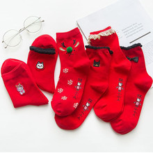 2019 Christmas Socks Wool Cartoon Women Red Animal Printed Casual Keep Warm Xmas gift lady skarpetki