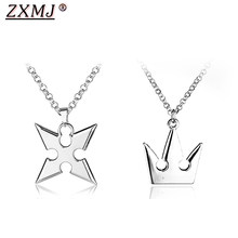 Kingdom Hearts Necklace Pendant Hot Game Rhombus Crown Necklaces For Men Women Jewelry Gift Hot Sale Gift for movie fans(China)