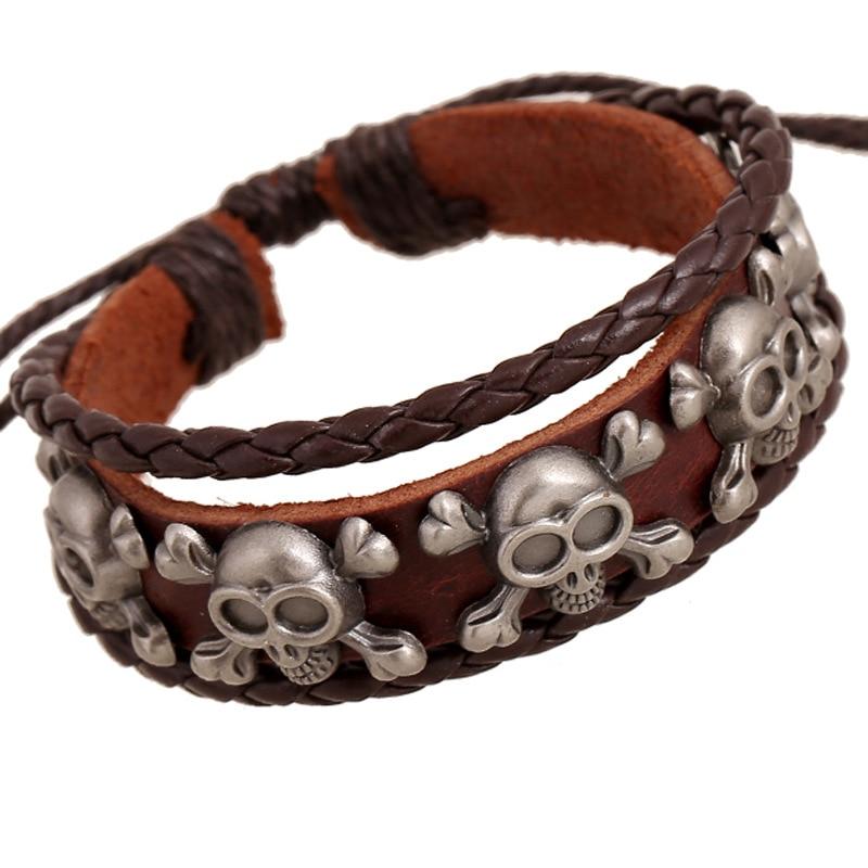 2020 Vintage Multilayer Bangle Skull Cross Braided Leather Bracelet Punk Bracelets for Men and Male Bracelets