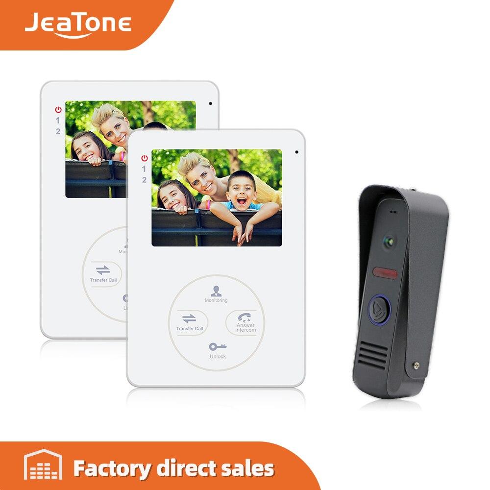 """Jeatone 4 """"wyświetlacz TFT LCD wideodomofon domofon domofon 1200TVL HD kamera zewnętrzna z 2 monitorami wewnętrznymi Interfone"""