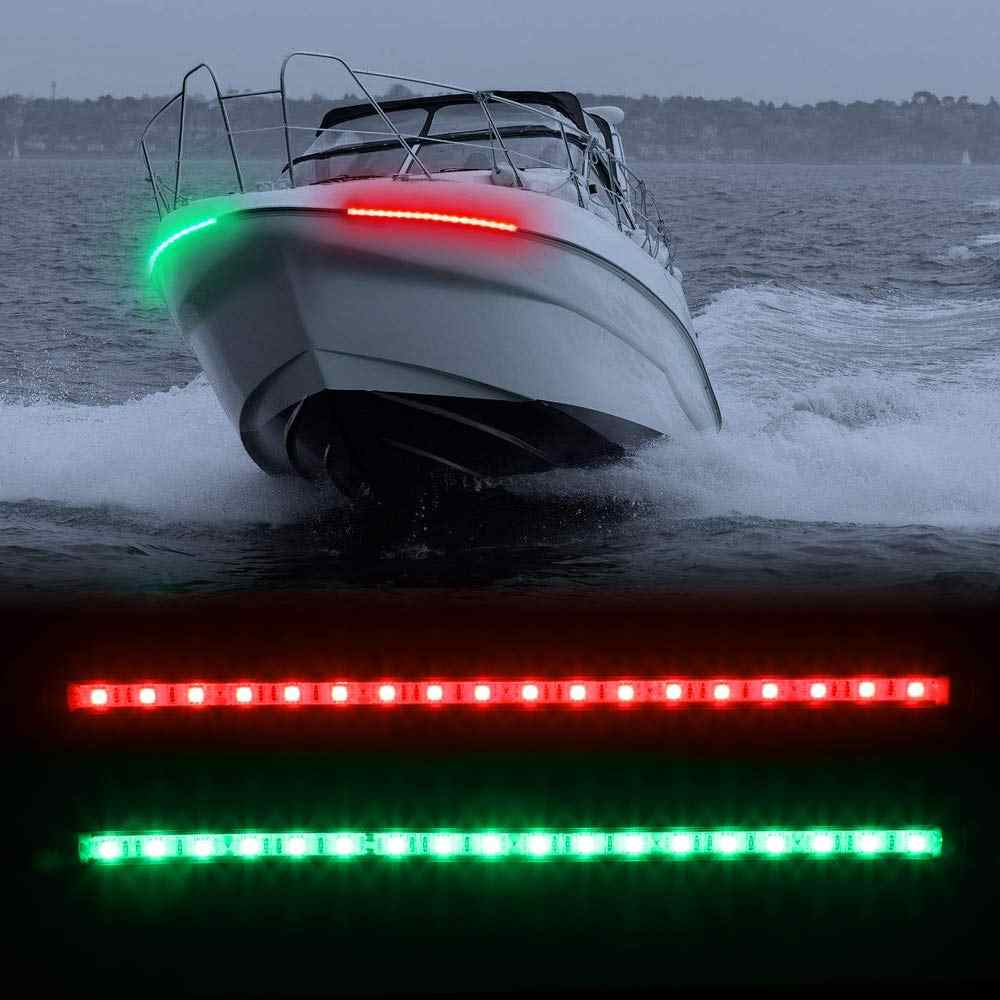 Лодка навигационные огни 12 В из нержавеющей стали морские лампы для яхты 30 см светодиодные полосы лук боковые огни Понтоны Sailing сигнальные огни один