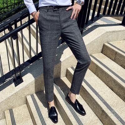 Men's Dress Pants Slim Fit Grey Smart Pants Plaid Formal Trousers Office Costume Homme Men Slacks Business Suit Pants 2020