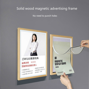 Solid Wood Advertising Menu Frame Acrylic Photo Frame Hanging Wall Sign Holder A3 A4 Wooden Poster Frame Picture Holder a4 size wood photo frame solid wood photo frame stand table display photo quadro decoration tv wall frame best gift 2019