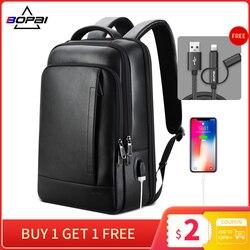 BOPAI sac à dos en cuir véritable ordinateur portable hommes d'affaires décontracté en cuir véritable sac à dos homme ordinateur sac à dos en cuir noir