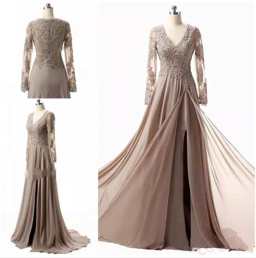 Modest Mother Of The Bride Dresses 2019 Vestido De Madrinha Elegant V Neck Lace Appliques Long Sleeves Formal Evening Gowns