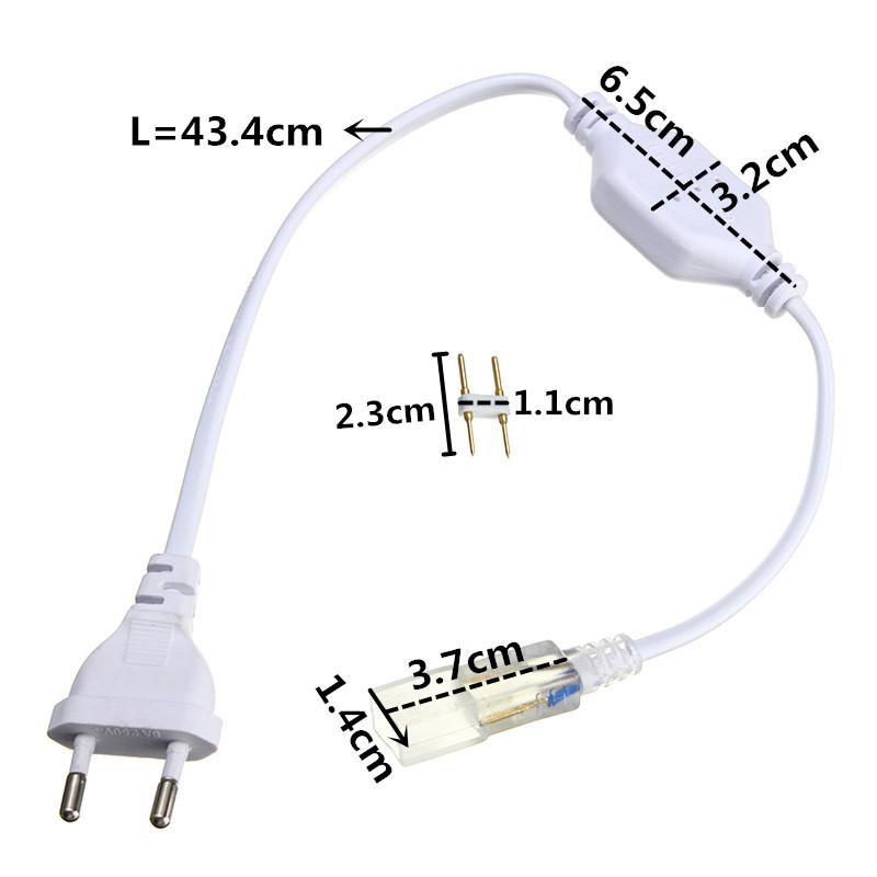 H05426d94e0ce471fafbc1441d082dd484 - 6mm Cable Strip Light 5050 2835 3014 5630 SMD 2pin Light Bar Plug LED Lamp Belt Plug Accessories US/EU Plug With Needle 220-240V