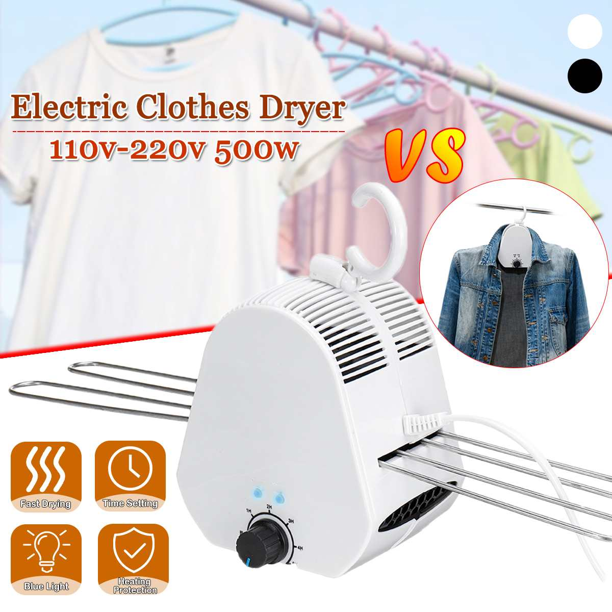 Portable Electric Clothes Drying Rack Smart Clothes Dryer Outdoor Travel Mini Clothing Shoes laundry Foldable Heater Timer