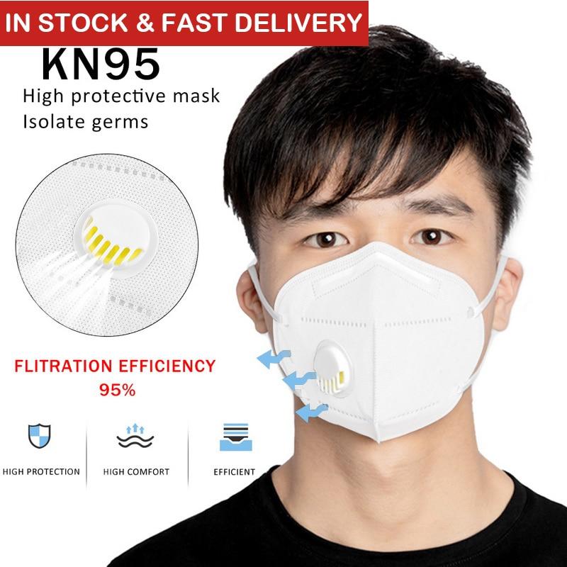 10 PCS Reusable KN95 Mask Valved Face Mask N95 Respirator 5 Layers FFP1 FFP2 FFP3 Professinal Gauze Filter Masks Antibacteria