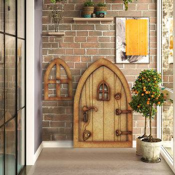 1 zestaw bajki miniaturowe ogrodowe dekoracje Mini drewniane ozdoby drzwi bajki tanie i dobre opinie Rękaw-dzwon Z szyfonu CN (pochodzenie) Lato COTTON long Nieregularne Fairy Door Ornament Fairy Door Decoration Wooden Home Decoration