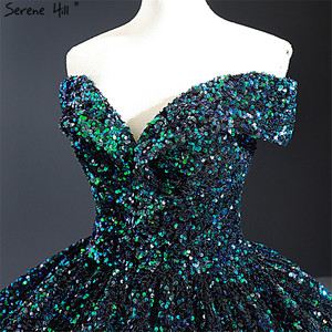 Image 4 - Dubai vestidos de novia con lentejuelas y hombros descubiertos, verde, sexys, de lujo, hecho a medida, DHM66991, 2020