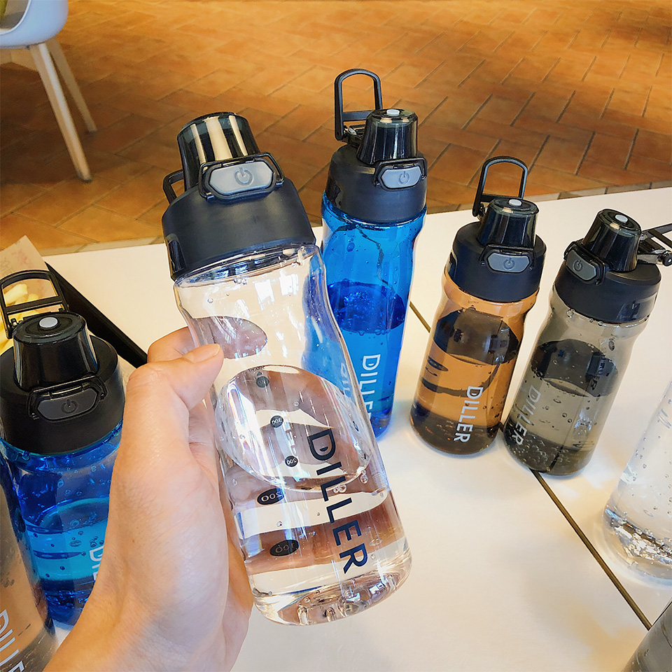 H0542d4be7c5d4f698bb5a190b8df80fc7 DILLER Water Bottle Popular Gray Men Outdoor Sport Travel My Drink Bottle Portable Leakproof Plastic Milk fruit gym Bottles