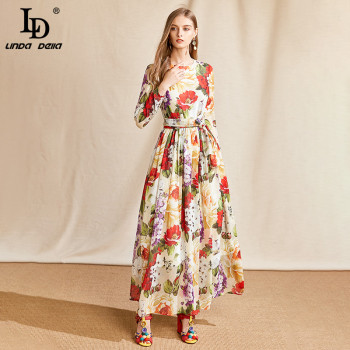 LD LINDA DELLA Summer Fashion Runway Maxi Dress Women Long Sleeve Belted Roses Floral Print Boho Holiday Chiffon Long Dress