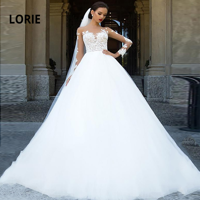 LORIE Elegant Lace Appliques Long Sleeve Wedding Dresses Ball Gown Wedding Gowns Fluffy Boho Bride Dress White Vestido De Noiva