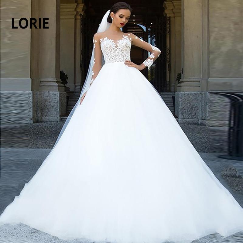 LORIE Long Sleeve Wedding Dresses Lace Allpiqued Bridal Gowns 2020 Fluffy Boho Bride Dress White Vestido De Noiva Plus Size
