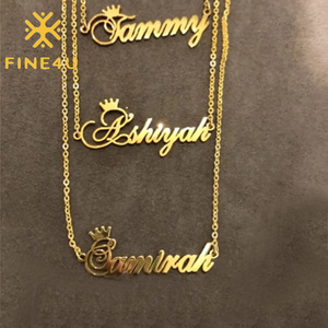 FINE4U N579 Personalized Name Necklace Stainless Steel Custom Made Nameplate Necklace for Mother's Day