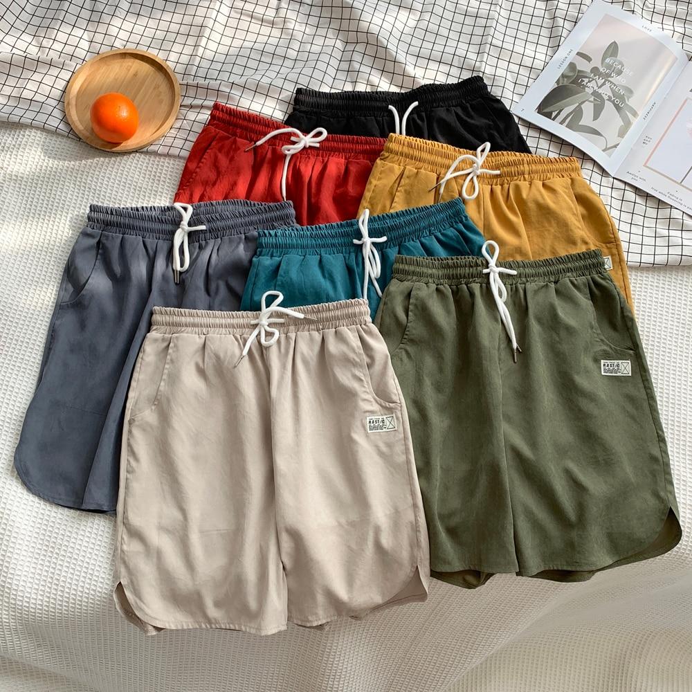 Dropshipping 7 Colors Harajuku Casual Knee Length Shorts Men Solid Slim Fit Drawstring Appliques Men's Shorts Streetwear