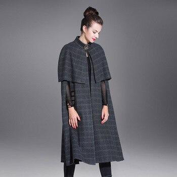 Женское шерстяное пончо в клетку, осенне зимняя накидка с длинными рукавами и блестками, Повседневный Кардиган, пальто
