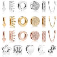 925 Sterling Silver Bead Reflexions Clip Charms Fit Original Pandora Reflexions Bracelet Women DIY Europe Jewelry Birthday Gift