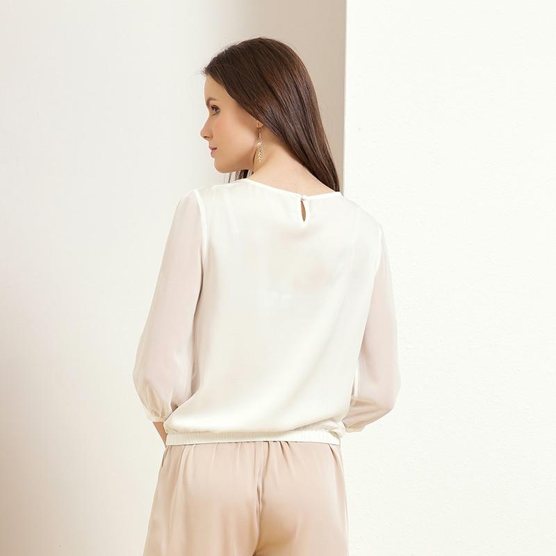 Jinju spring and summer new round neck solid color wild temperament professional fashion silk women's shirt