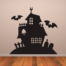 Haunted House Creepy Mansion Halloween Wallpaper Removable Decals Living Room Art Decor Vinyl Wall Stickers Nursery LW328