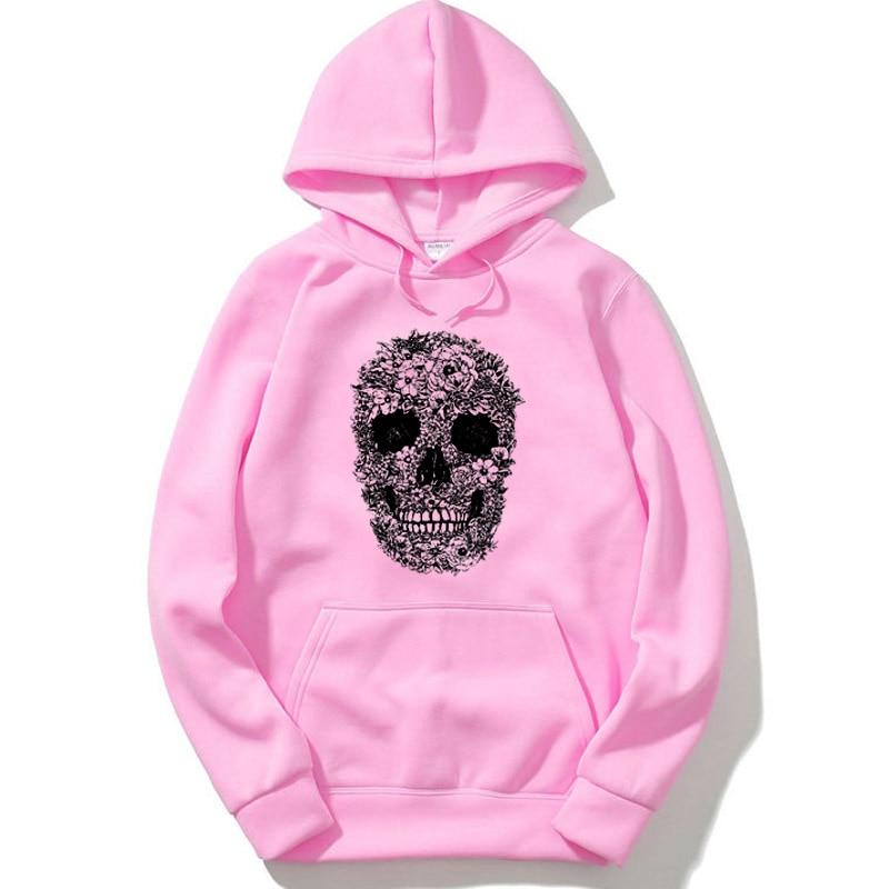Men's hoodie cotton blend skull print men sweatshirts casual loose fleece black mens hoodies with hat oversized cool hoodie