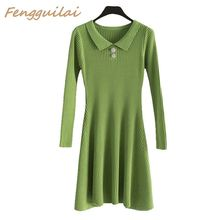 FENGGUILAI New 2019 Autumn Elegant Club Bodycon Dress Women Party Night A-line Knit Ladies Sexy Casual