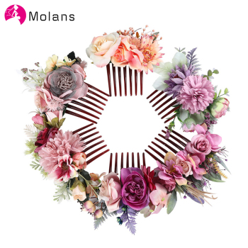 Molans Purple Cornflower Rose Hair Combs Beautiful Elegant Stimulation Flower Hair Comb Women Wedding Forest Photo Headpieces haimeikang women rose flower retro combs brides hair pins hair comb wedding jewelry accessories red rose hairpin hair jewelry