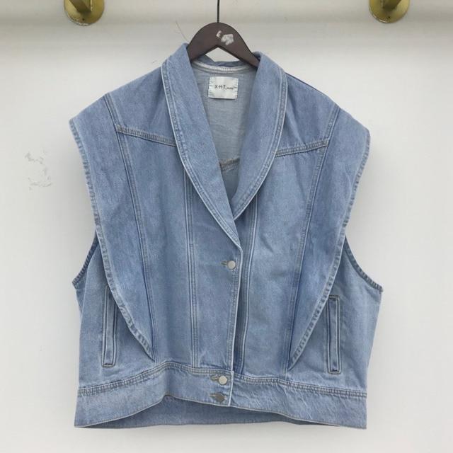 [EWQ] Korea Chic Summer Casual Lapel Ruffled Loose Blue Sleeveless Vest Jacket Women Summer Blue Trendy Ladies Clothing 2021 16E 6