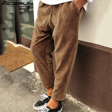INCERUN Men Casual Trousers Solid Corduroy Joker Elastic Waist Sweatpants Autumn Fashion Joggers Mens Lacing Harem Pants 2020