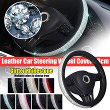 De cuero protector para volante de coche 38cm brillo de diamantes de imitación adecuado para chica Mujer Accesorios de Interior de coche cubierta del volante del 07