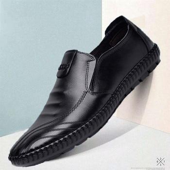 Мужские туфли ручной работы из натуральной кожи, весенние осенние деловые Модные мужские повседневные туфли, Брендовая обувь, модные лофер...