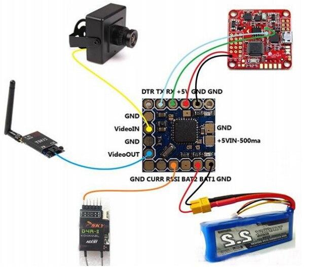 Yeni MINI mikro OSD MINIM OSD Mini OSD W/için KV Team MOD SP yarış F3 APM Naze32 CC3D uçuş kontrol Mini Quadcopter