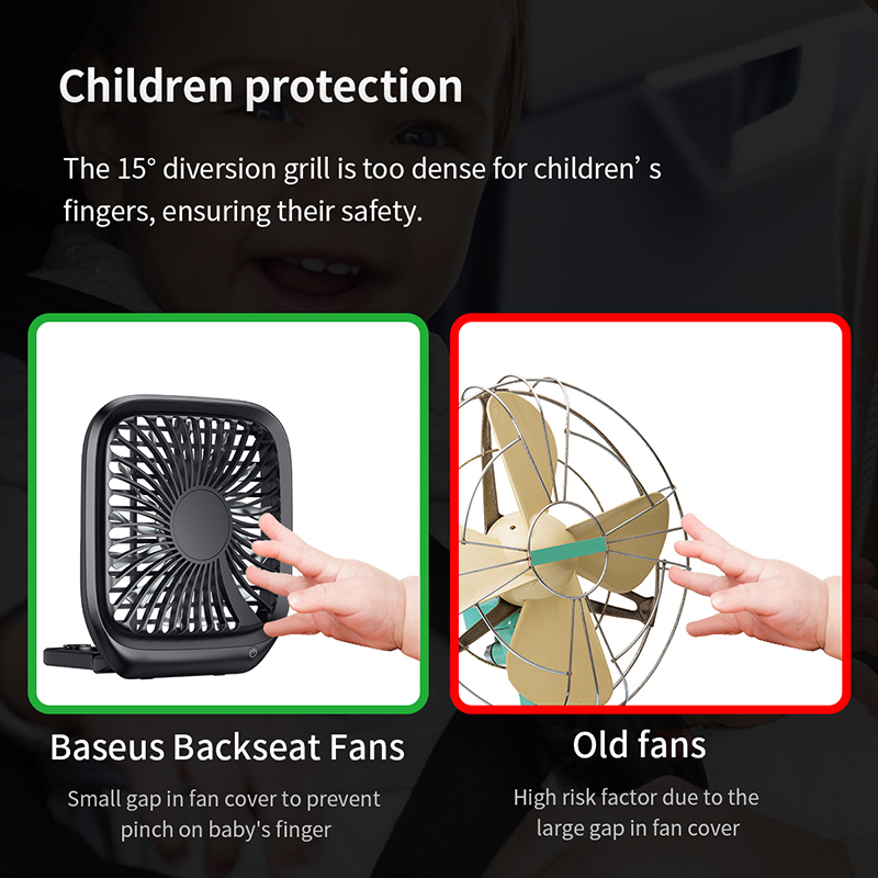 Baseus Car Fan Cooler Foldable Silent Fan For Car Backseat Air Condition 3 Speed Adjustable Mini USB Fan Desk Fan Auto Cooling 5