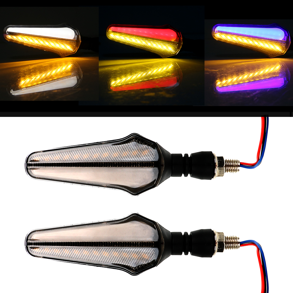 2 Pcs Dual Color 24 LED 12V 2in1 Motorcycle DRL Lamp Flowing Turn Signal Lights