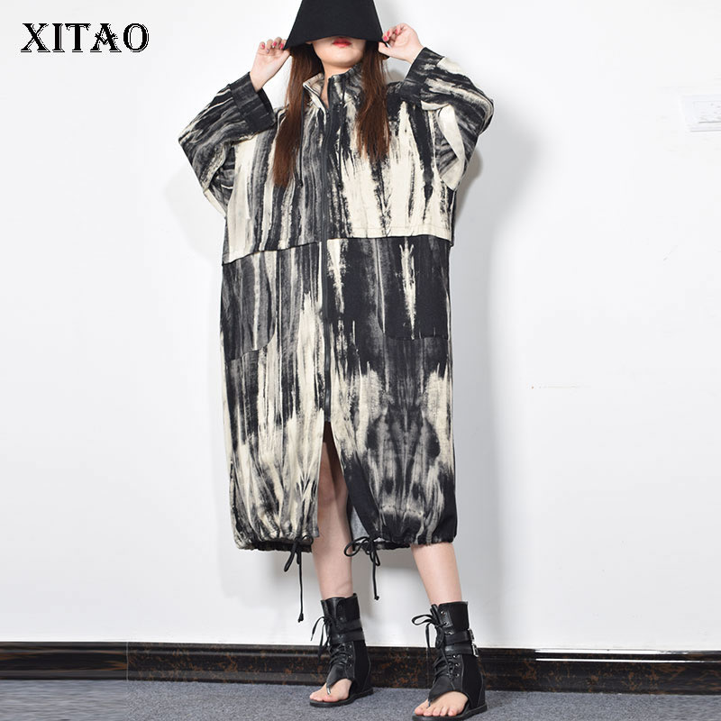 XITAO Patchwork Striped Print Draw String Hem   Trench   Women Winter Korean New Style Casual Stand Collar Straight Coat GCC2366