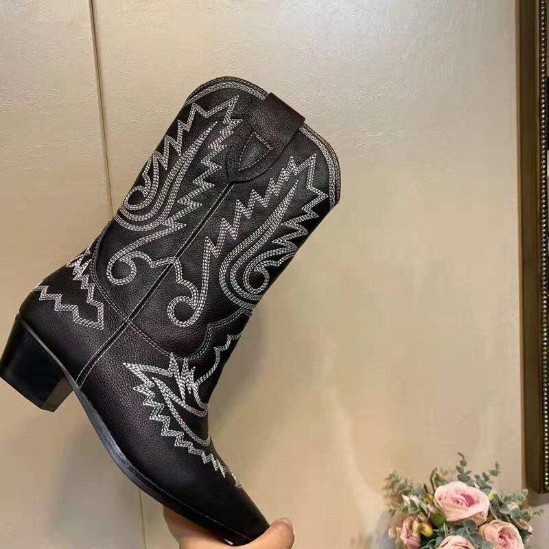 MStacchi 2020 nu daim brodé mi mollet bottes femmes talon épais bout pointu chaussures femme chaud neige bottes plates chevalier bottes - 6