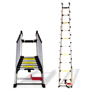 New 4.04M aluminum alloy thickening household telescopic ladder folding ladder straight ladder engineering industrial decoration