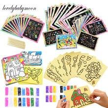 10/20/40 pces magia scratch arte doodle almofada areia pintura cartões aprendizagem educacional precoce criativo desenho brinquedos para crianças crianças